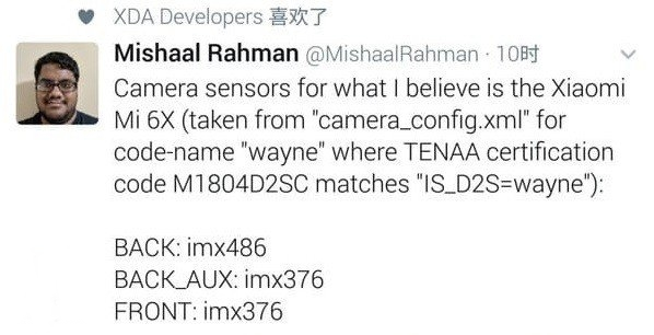 Sensores filtrados del Xiaomi Mi 6X