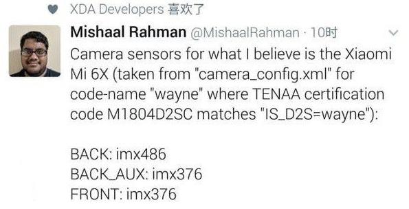 Sensores del Xiaomi Mi 6X