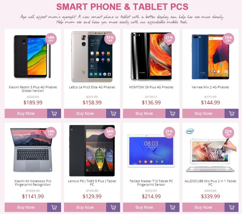 Especial día de las madres en Gearbest - Smartphones, tabletas y PCs