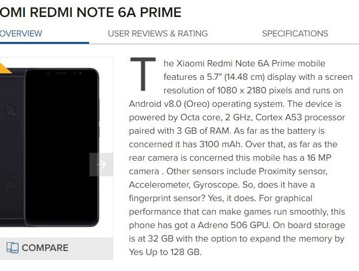 Redmi Note 6A specs