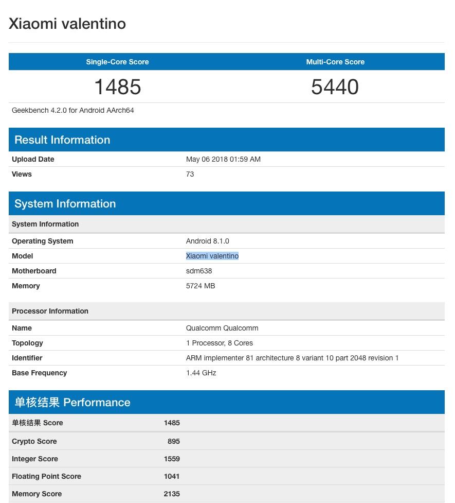 Xiaomi Valentino equipado con Snapdragon 638 en Geekbench