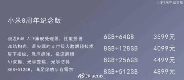 Precios de las posibles variantes del Xiaomi Mi 8
