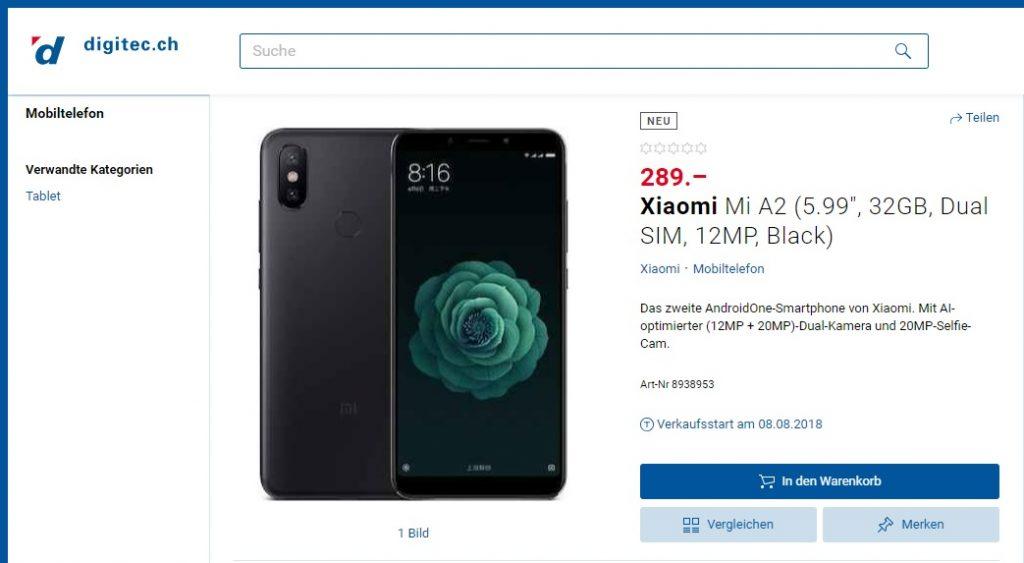 Filtración de Xiaomi MI A2 en una tienda online suiza