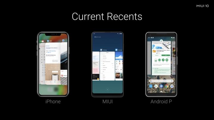 Aplicaciones recientes en MIUI 10