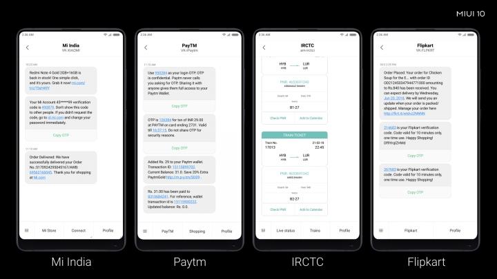 Características de MIUI 10: conexión con ICICI Bank