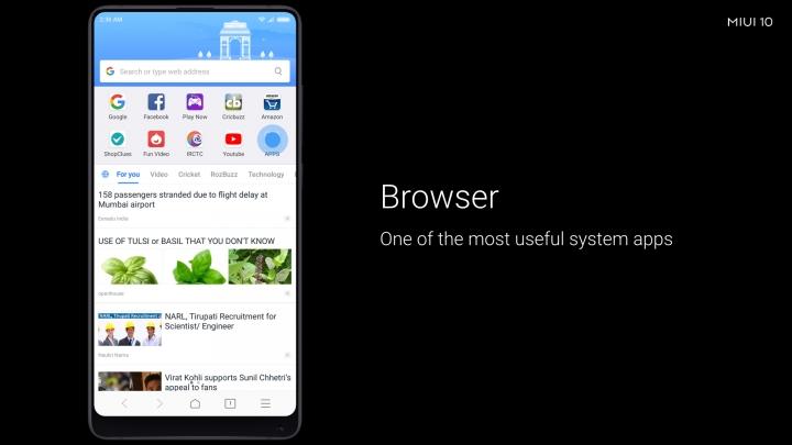 Características de MIUI 10: navegador
