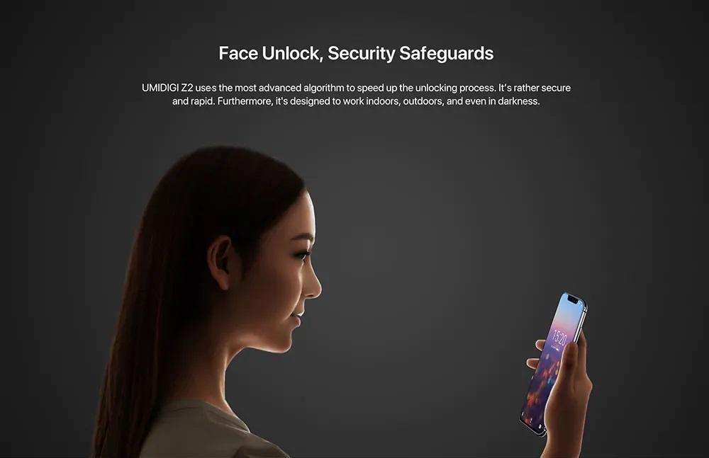UMIDIGI Z2 y Z2 Pro Desbloqueo Facial