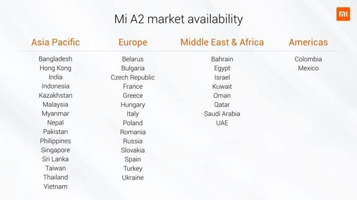 Xiaomi Mi A2 Tabla de países