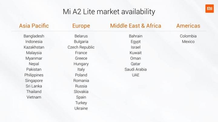 Xiaomi Mi A2 Lite Tabla de países