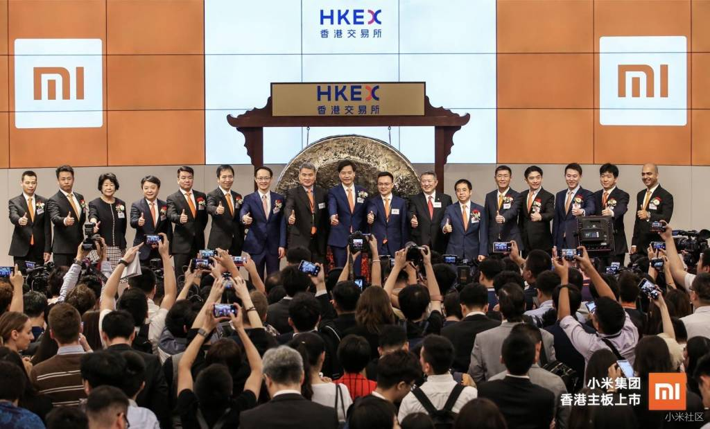 Xiaomi en la bolsa de valores en Hong Kong stock exchange
