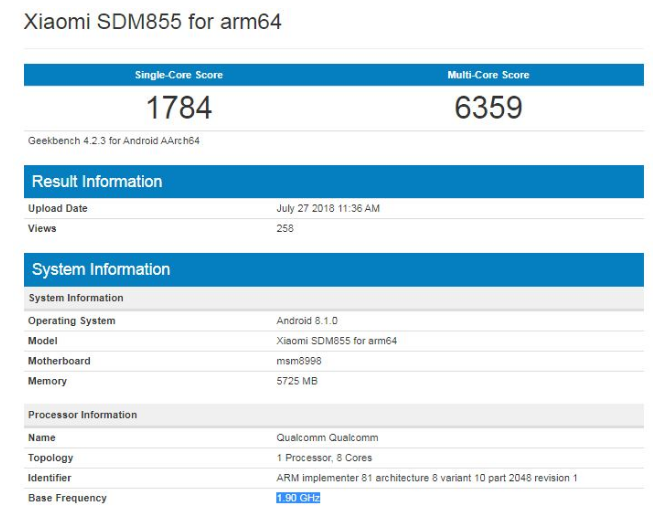 Snapdragon 855 Geekbench