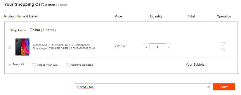 Xiaomi Mi 8 SE Cupón