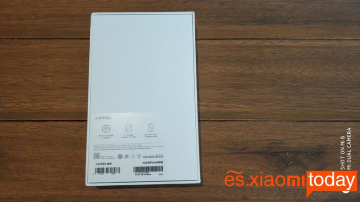 Xiaomi Mi Pad 4 caja parte posterior