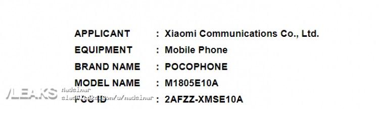 Primer teléfono Xiaomi POCOPHONE - Certificación FCC