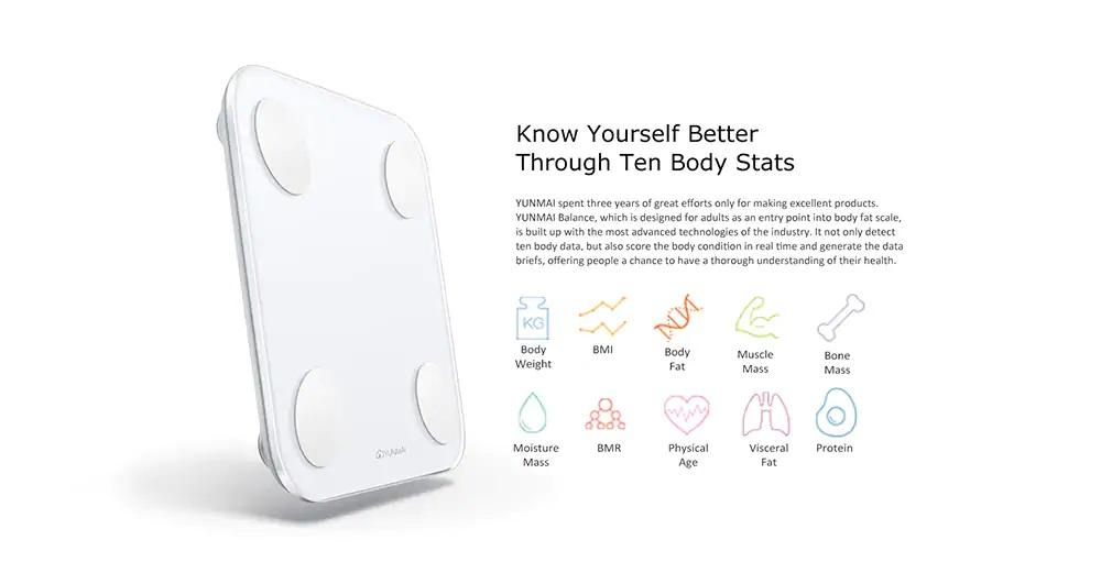 Báscula Xiaomi YUNMAI Mini 2 Diez índices físicos