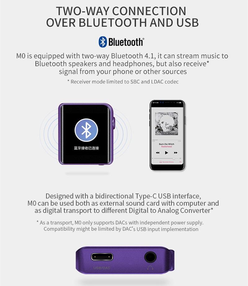 Xiaomi ShanLing M0 Conectividad e Interfaz