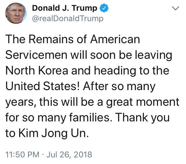 Tweet de Trump por la repatriación de los restos