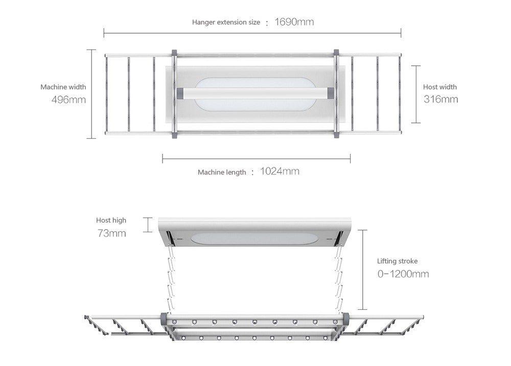 Xiaomi M1 Smart Clothes Dryer - Medidas