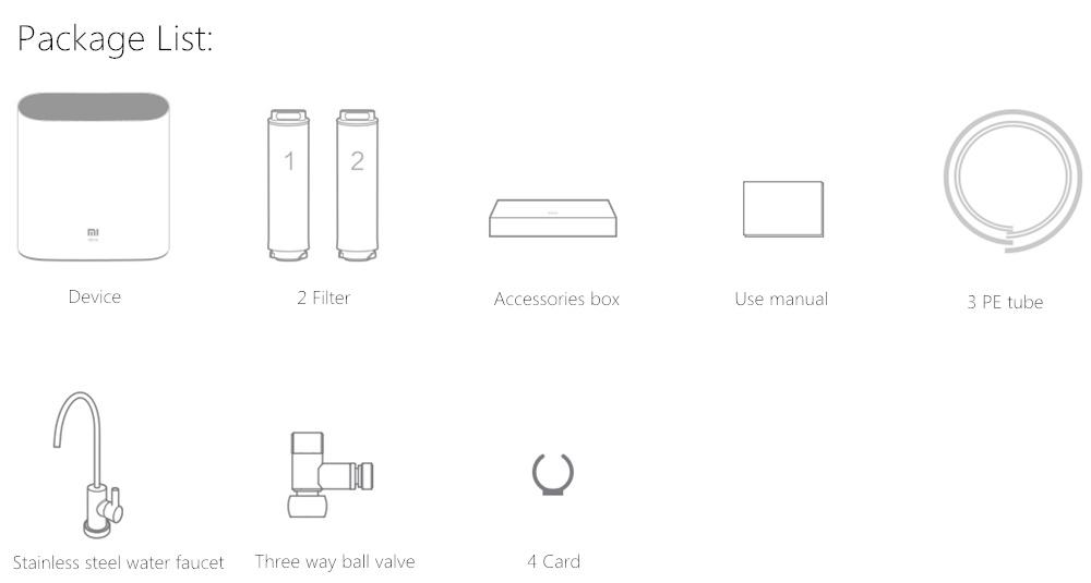 Xiaomi Mi Water Purifier 1A - Accesorios