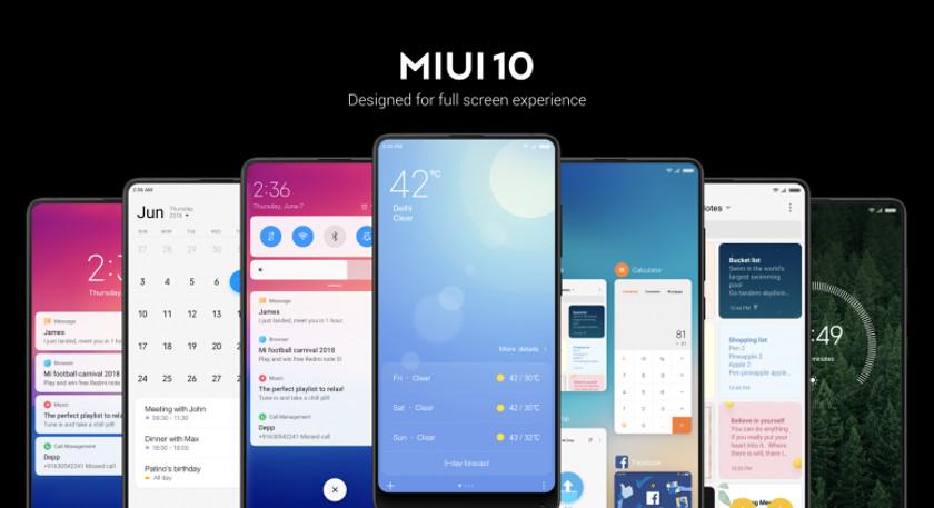 MIUI 10 - dispositivos