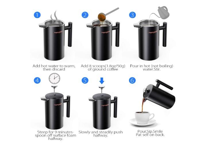 Cafetera de émbolo Homgeek - Oferta Amazon
