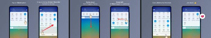 MIUI 10 permite añadir la grabación de pantalla desde el menú de acceso rápido