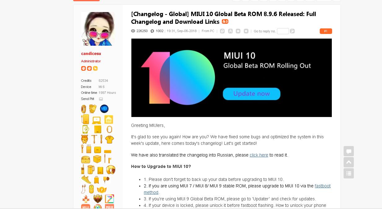 MIUI 10 Global Beta ROM 8.9.6