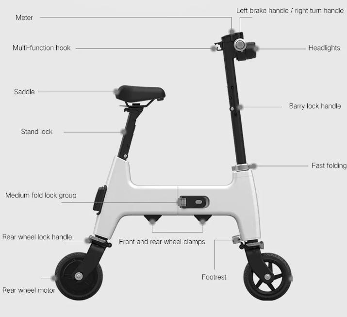 Xiaomi HIMO H1 Smart Folding Electric Bike Partes