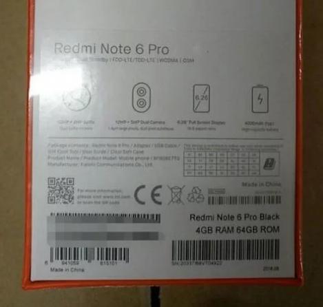 Empaque del Xiaomi Redmi Note 6 Pro
