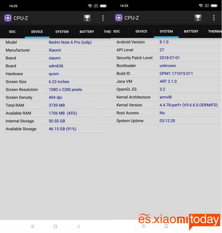 Xiaomi Redmi Note 6 Pro Análisis - Hardware y rendimiento
