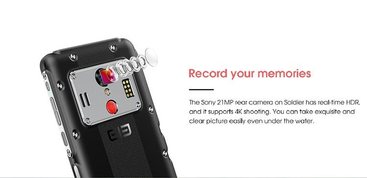 Elephone soldier cámara
