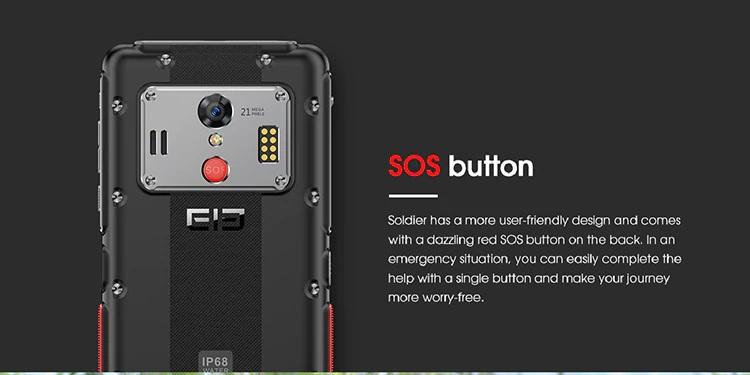 Elephone soldier diseño botón sos