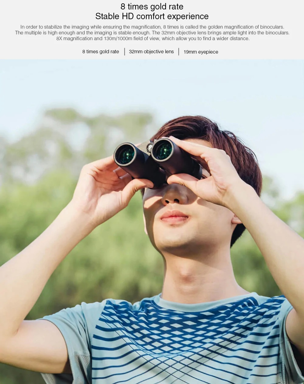 Binoculares Xiaomi BEEBEST 8X características