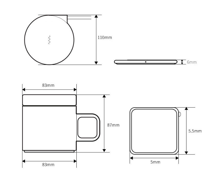 Xiaomi VH Wireless Charging Cup Dimensiones