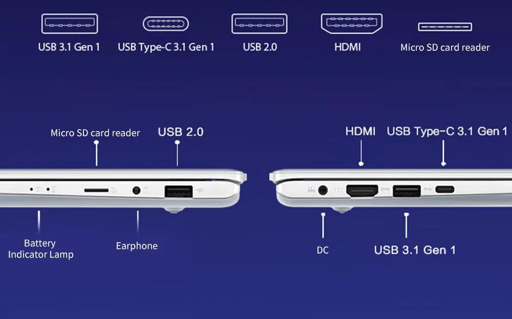 ASUS Adol Laptop diseño puertos
