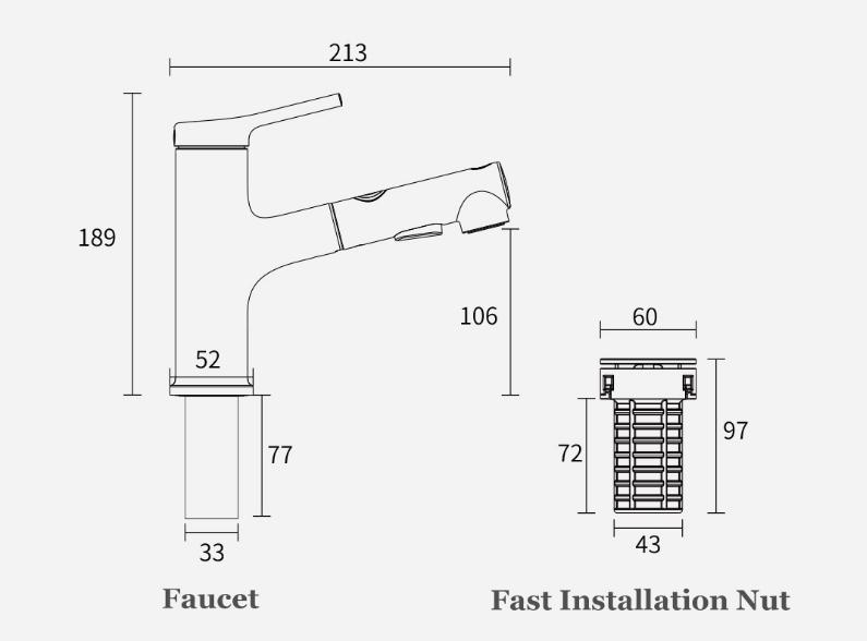 Xiaomi DABAI Bathroom Basin Faucet Medidas