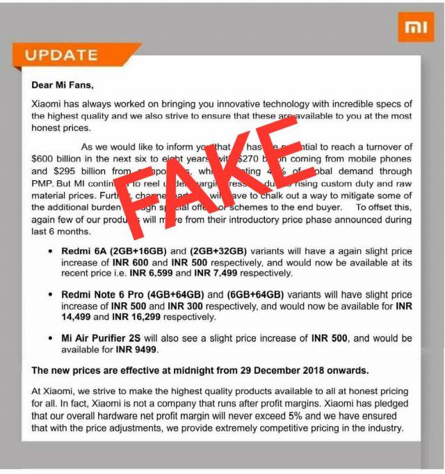 ¡Los rumores de que Xiaomi India aumentará los precios de algunos productos es falso!