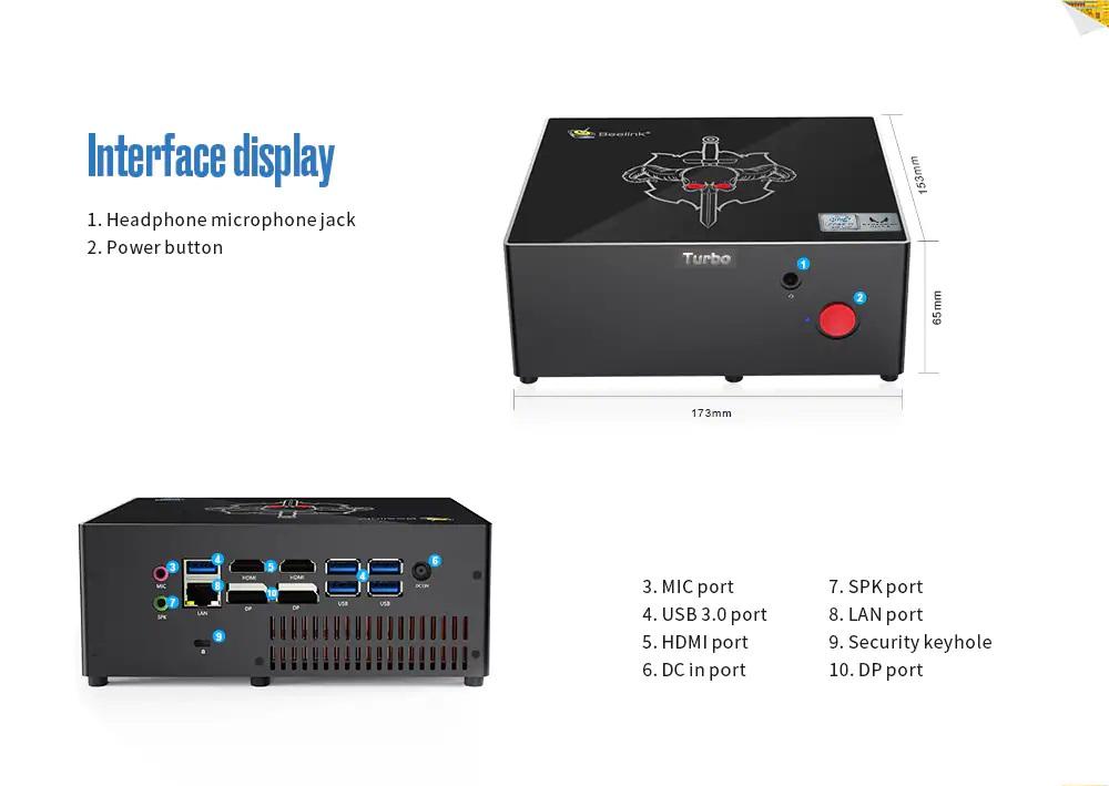 Beelink Kaby G7 diseño medidas