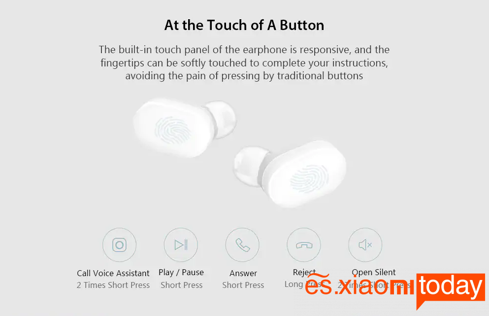 Xiaomi Mi AirDots Bluetooth Headset Toque inteligente