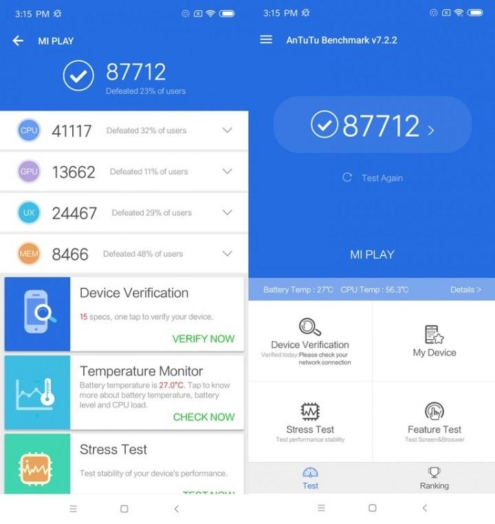 Xiaomi PlayAnálisis Hardware rendimiento