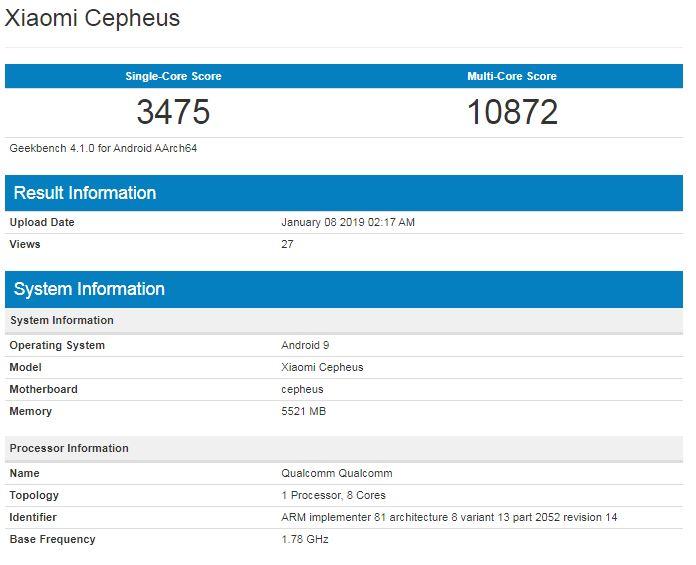 Especificaciones del Xiaomi Cepheus según Geekbench