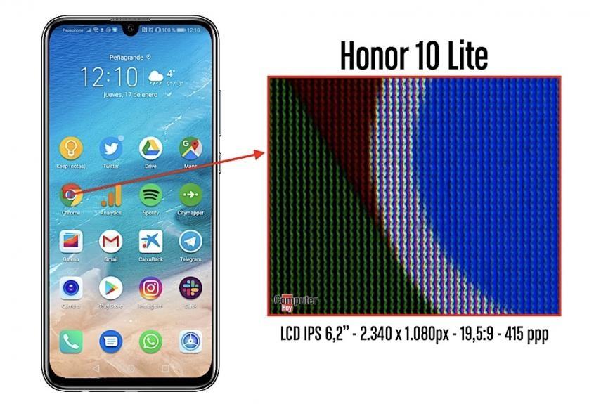 Honor 10 Lite Análisis pantalla 415 ppi