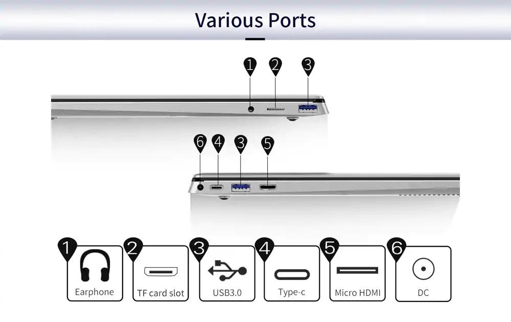 Jumper EZBook X4 Pro puertos