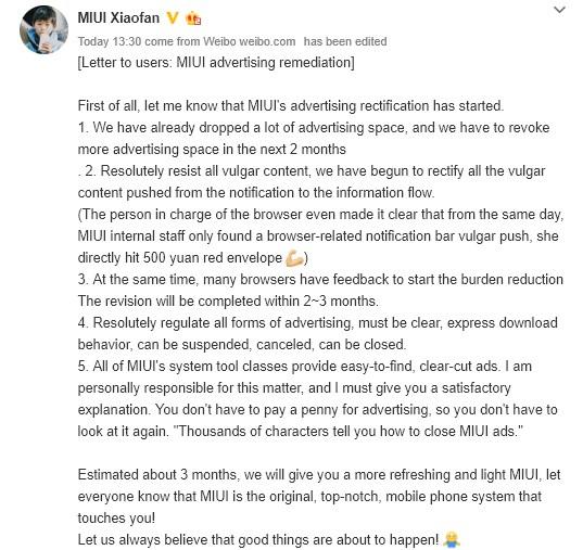 Xiaomi MIUI carta de anuncios