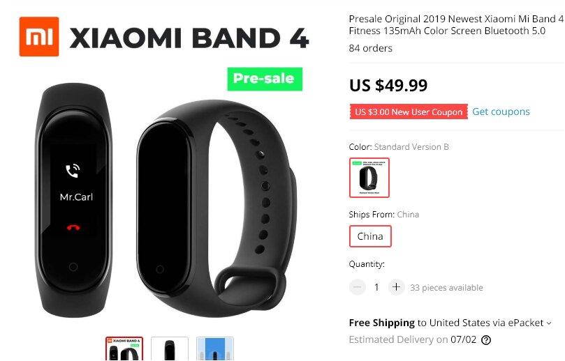 La Xiaomi Mi Band 4 ya se encuentra en pre-venta en AliExpress por $49.99