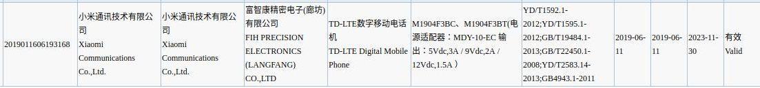 Las especificaciones de un supuesto teléfono Xiaomi Mi CC9e fueron filtradas