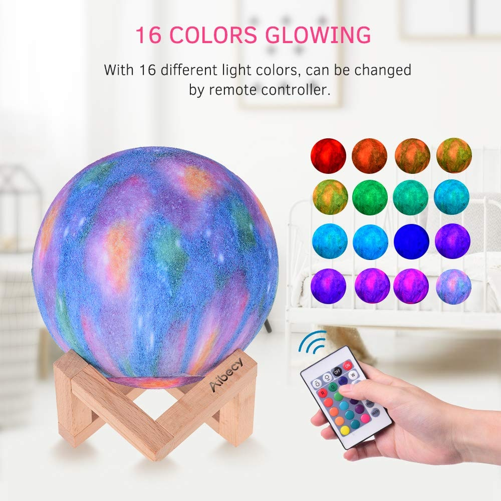 Aibecy LED Moon Lamp colores