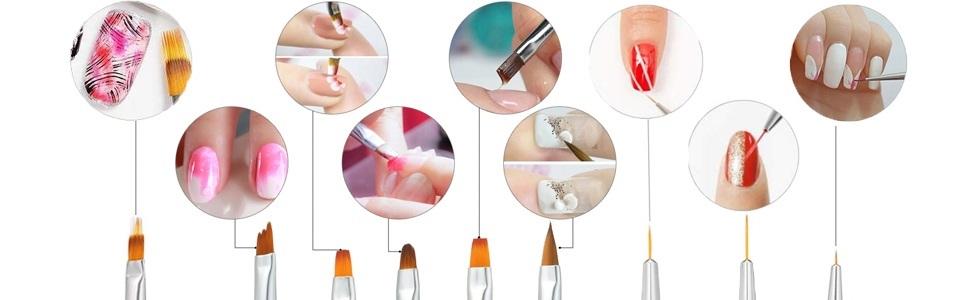 Anself 10pcs set Nail Art Brush Painting Drawing Pen destacada