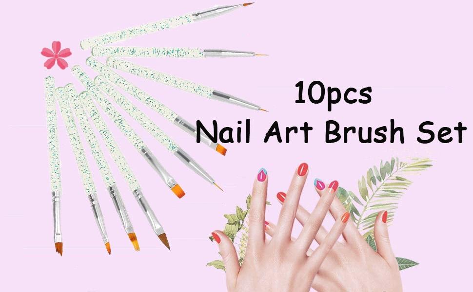 Anself 10pcs set Nail Art Brush Painting Drawing Pen