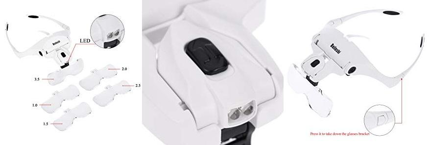 Lens 1.0X-3.5X Adjustable Bracket Headband Glasses diseño estructura prestaciones